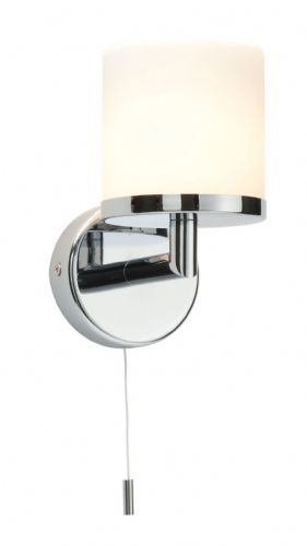 Chrome effect plate & matt opal duplex glass IP44 Bathroom Wall Light 39608 by Endon